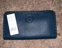 NEW Tory Burch Marion Multi-Gusset Zip Continental Wallet - OCEANO $225