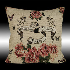 """SHABBY CHIC ROSES ANGELS COUNTRY TAPESTRY THROW PILLOW CASE CUSHION COVER 17"""""""
