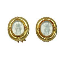 Elizabeth Locke 18K Gold Venetian Glass Intaglio Earrings