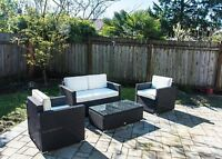 4 PC Sectional Rattan Wicker Sofa Set Patio Garden Cushioned Outdoor Furniture