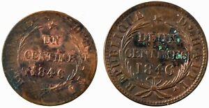 Haiti: Republic 1846//AN43  1 Centime and 2 Centimes, Copper.