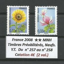FRANCE 2008 .. Precancels Stamps Y.T. n° 257 - 258 .. MNH ** .. Flowers