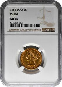 1854 DDO $5 Gold Half Eagle Liberty Head Coin FS-101 NGC AU 55