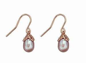 Elements silver & rose gold baroque earrings with mauve pearls