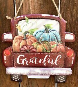 Grateful Farmhouse Metal Fall Pick up Truck Wall Decor red