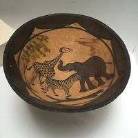 African Wood Bowl Hand Carved Drawing Giraffe Elephant Zebra Vintage 12-inch