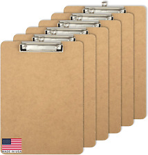 Letter Size Wood Clipboards, Low Profile Clip, 6 Pack Clipboard, Brown