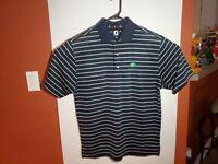 Footjoy FJ Golf Polo Shirt Blue Purple Green Striped Mens Medium M Oak Tree Logo