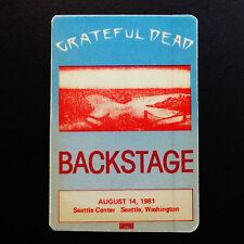 Grateful Dead Backstage Pass Seattle Center Seattle Washington Wa 8/14/1981