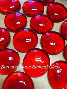 ORANGE RED Glass Gems/ Nuggets/ Mosaic Tiles (Large 2 LB)