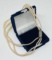 Vintage Necklace 3 Strand Graduated Faux Pearls Diamante Clasp Elegant Costume