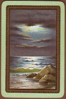Playing Cards Single Card Old SEASIDE COASTLINE Moonlit Night Artist Painting 2