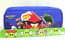 Rovio Angry Birds Pencil Pouch /Pencil Case (Blue) and Slap Bracelet Combo-New!