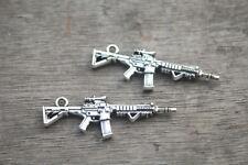 8pcs Machine Gun Charms silver Tone 2 Sided Submachine gun charm pendant 45x15mm