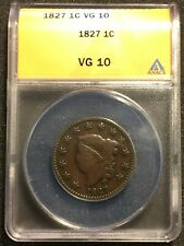 1827 Large Cent ANACS VG 10 Certified  (00522)