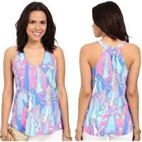 Lilly Pulitzer Women's Minka Trapeze Racerback Tank Top Out To Sea Bay Blue XS