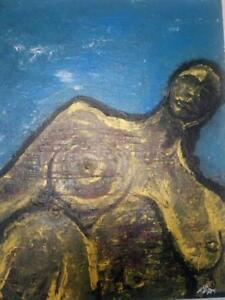 Nude woman painting modern hand made textured paper art scupture