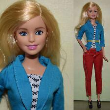 "Mattel Barbie 11.5"" Fashionistas Blond Casual Clothes Red Pants Blue Jacket"
