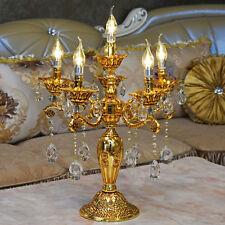 Tischlampe Barock E14 6-Armig Gold Tischleuchte Kristallglas Lüster Lampe