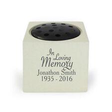 Personalised In Loving Memory Memorial Vase Stone Flower Holder for Grave |8