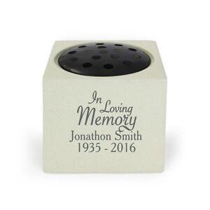 Personalised In Loving Memory Memorial Vase Stone Flower Holder for Grave