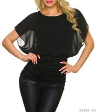 Top Femme doublé, manches courtes en voile Noir