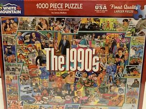 New Sealed - White Mountain Puzzle - THE 1990'S - NINETIES - 1000 Piece Jigsaw