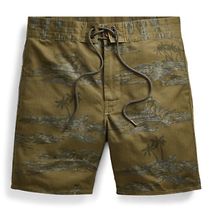 $265 Double Ralph Lauren RRL Hawaiian Herringbone Olive Green Swim Board Shorts