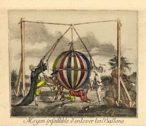 "1880's Handcolored French Engraving ""Moyen infaillible d'enlever  les Ballons"""