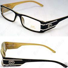 DG Clear Lens Frames Glasses Rectangular Fashion Nerd Mens Women Designer Yellow