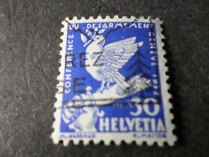 SUISSE, 1932, timbre 257, OISEAUX, COLOMBE, oblitéré