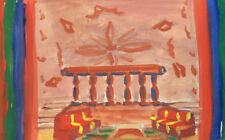Antique European gouache painting expressionism scene design interior