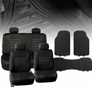 Seat Covers for Car Suv Van Air Mesh Solid Black W/ Black Premium Floor Mats