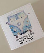 Personalised Blue Camper Van Birthday Card (Dad/Brother/Son/Boyfriend/Husband)
