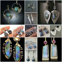 Vintage 925 Silver Turquoise Earrings Ear Hook Stud Dangle Drop Women Jewelry Ms
