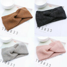 Twist Knitted Headband Womens Elastic Ear Warmer Wool Crochet Bow Knot Hairband