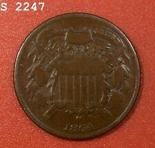 """1864 Small Motto Two-Cent Piece """"VG/F"""" *Free S/H After 1st Item*"""