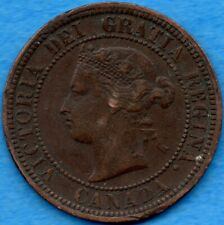 Canada 1876 H 1 Cent One Large Cent Coin - VF/EF (corrosion)