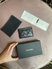 AUTHENTIC NEW CHANEL BLACK CAVIAR CC LOGO LEATHER CARD HOLDER (SILVER)