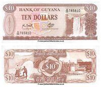 Guyana 10 Dollars 1966-1992  P-23f Sig. 9  Banknotes  UNC