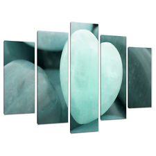 Set of Five Shabby Chic Teal Blue Green Canvas Pictures Wall Art 5080