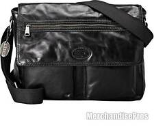 MEN'S FOSSIL TRANSIT EAST WEST BLACK LEATHER MESSENGER LAPTOP BAG $268 MSRP NEW!