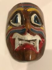 MEXICAN HAND CARVED & HAND PAINTED WOOD  MASK