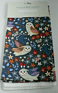 Ulster Weavers ~ NIGHTIME OWLS ~ kitchen tea towels pair BNWT