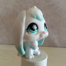 Littlest Pet Shop White Blue Bunny Rabbit Lop Ear Teal Snowflake Eyes #685