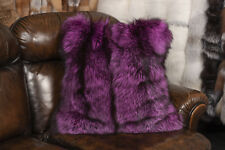 1863 Real Fur Cushion Pink Silver Foxes Genuine Fur Pillow Real Fox Fur Real Fur