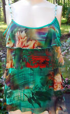 LAPIS Green & Multi Ruffled Cami Style Top w/Beaded Shoulder Straps! S