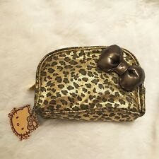 Hello Kitty SEPHORA Wild Thing Cosmetic Bag with Brown Bow, Animal Print, NEW