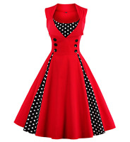 Vintage Polka Dot 50's Rockabilly Swing Pin Up Housewife Retro Dress S M L XXXXL
