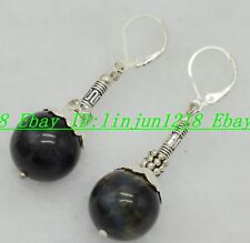 Dsc-0574 14mm Natural Round  Black Blue Tiger's Eye Silver Buckle  Earring